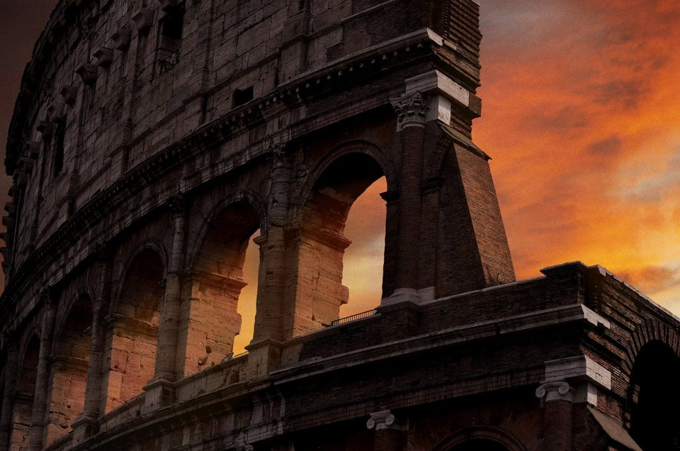 The Roman Colosseum as the sun sets