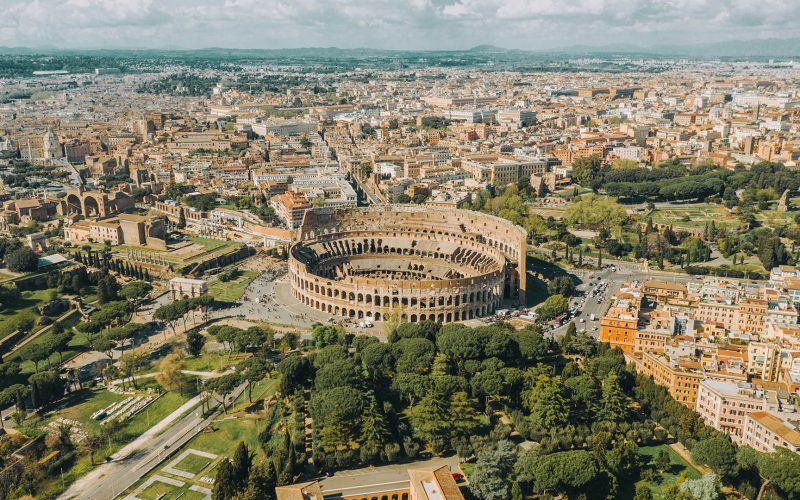 Aerial view of the Colosseum and Roman Forum in Rome