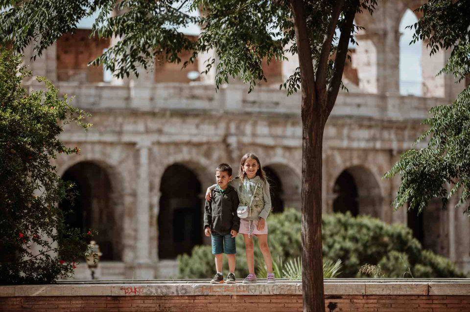 Kids outside the Colosseum