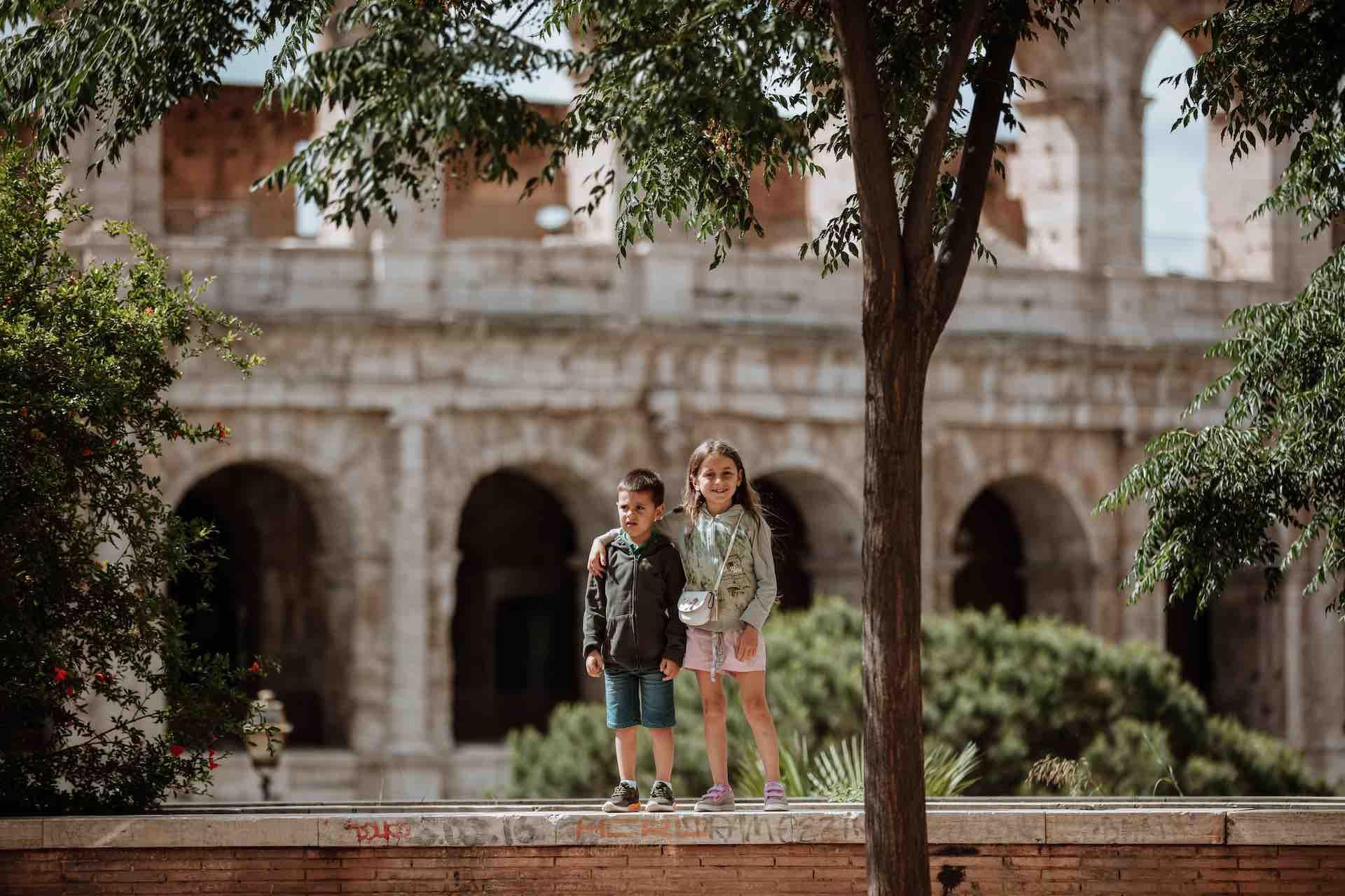 Kids outside the Colosseum