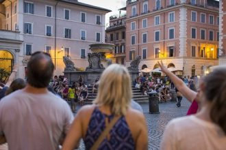 Trastevere Food Tour Santa Maria Piazza Church