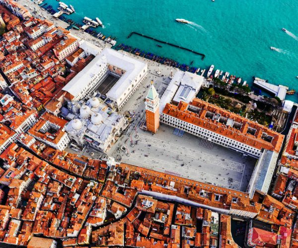 Aerial view of piazza San Marco, Venice, Italy